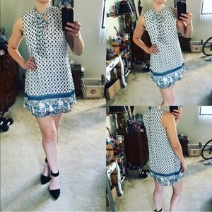 Blue and white 70's inspired mini dress size mediu